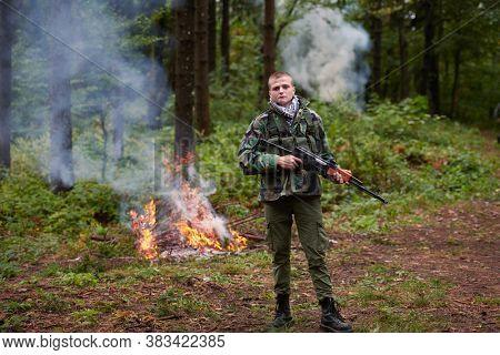 terrorist militant guerrilla soldier warrior in forest