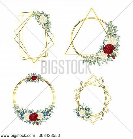 Gold Frames Set. Geometric Crystal Stone Polyhedron With Flowers.