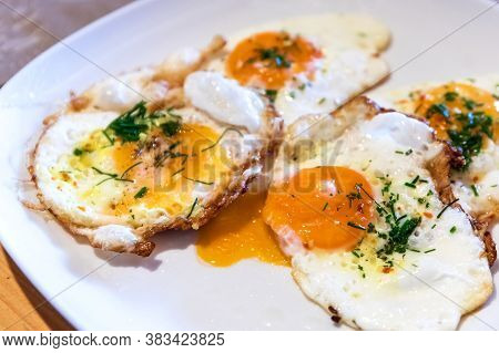 Fried Eggs On A Plate. Fresh Fried Eggs For Breakfast.