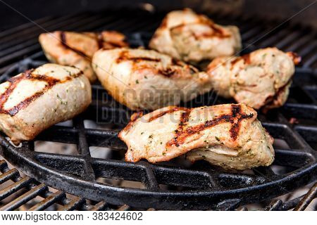 Grilled Pork Tenderloin. Pork Steak Meat On Bbq Grill , Home Made. Diet Food. Home Barbecue.