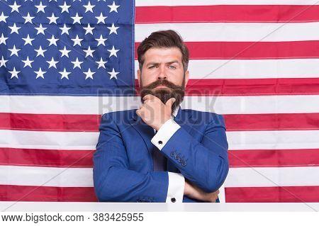 Man American Presenter Anchorman In Studio, Television Debate Concept.
