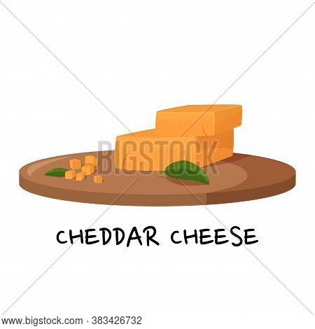 Pieces Of Cheddar Cheese On A Wooden Tray. Realistic Vector Illustration Isolated On White Backgroun
