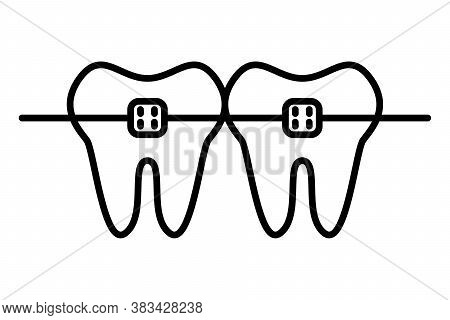 Dental Braces Line Icon With Editable Stroke. Orthodontic Teeth Sign In Outline Style. Concept Of De