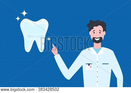 Cartoon Vector Illustration Of Dentist Showing Healthy Tooth. Concept Of Dental Health Care, Cleanin