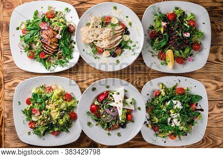 Set Of Plates With Vegetable Salad. Healthy Food For Dieting. Lunch Menu Of Food Restaurant In Rusti