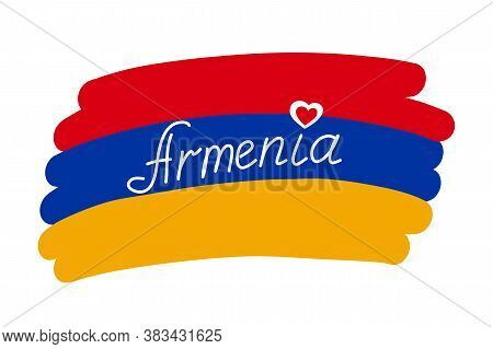 Armenia Flag, Stylized Vector Illustration With Handwritten Country Name Text. Red Blue Yellow Flag