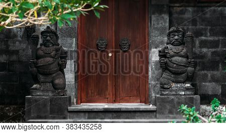 Door Or Gate To Enter Into Traditional Balinese Garden Architecture Detail. Wooden Indonesian Gate G