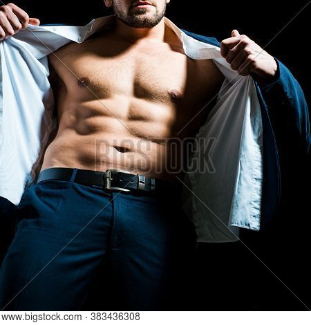 Naked Men And Evening Suit. Bare Torso Of Muscular Man. Handsome Muscular Man With Six Pack Abs, Cla