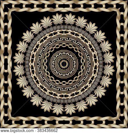 Ornamental Greek Round Mandala And Square Frame. Vector Floral Seamless Pattern. Geometric Backgroun