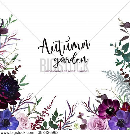 Marvelous Violet, Purple And Burgundy Anemone, Dusty Mauve And Lilac Rose, Dark Dahlia, Astilbe Wint