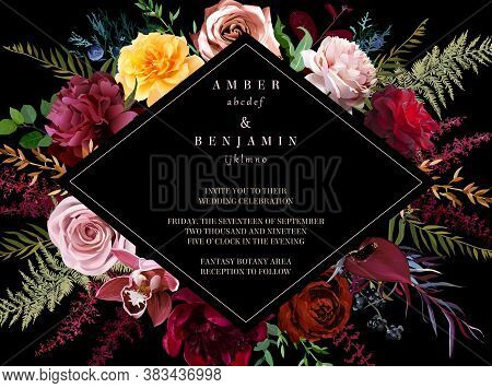 Luxurious Dark Frame Arranged From Leaves And Flowers. Red, Yellow And Dusty Pink Rose, Burgundy Peo