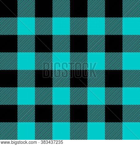 Tartan Robins Egg Blue Plaid. Scottish Pattern In Black And Blue Cage. Scottish Cage. Traditional Sc