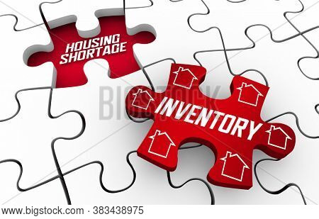 Housing Shortage Supply Demand Crisis Home Inventory Puzzle 3d Illustration