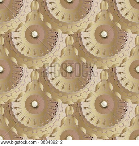 Tiled 3d Mandalas Seamless Pattern. Vector Ornamental Jewelry Background. Repeat Patterned Deco Back