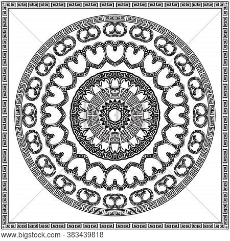 Black And White Floral Round Mandala With Square Frame. Greek Ornaments. Decorative Beautiful Patter
