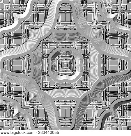 Embossed Grunge 3d Seamless Pattern. Textured Vector Gray Background With Embossing Effect. Repeat M