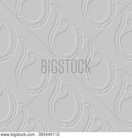 Embossed Paisley Seamless Pattern. Vector Ornamental Textured Background. Light Gray Repeat Ethnic B
