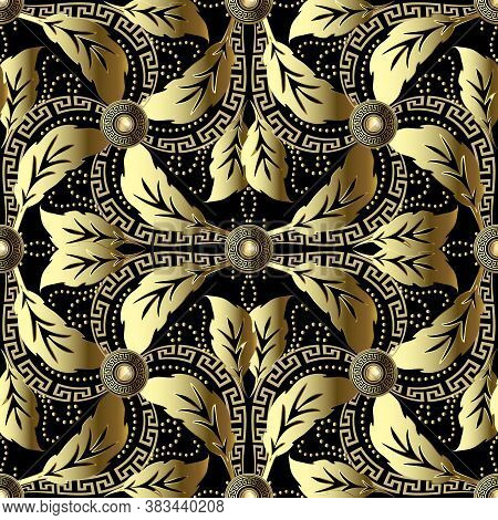 Vintage Baroque 3d Vector Seamless Pattern. Ornamental Floral Background. Leafy Luxury Ornament. Rep