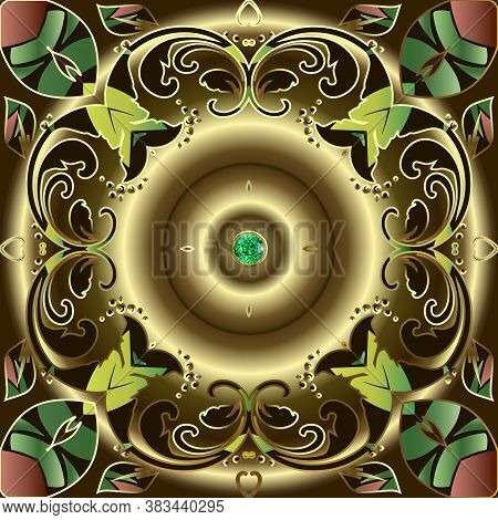 Jewelry Gold Baroque 3d Seamless Pattern. Vector Oenamental Golden Background. Repeat Luxury Backdro