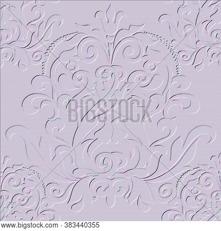 Damask Embossed 3d Seamless Pattern. Vector Floral Textured Background. Vintage Beautiful Baroque St