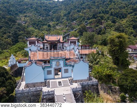 George Town, Penang/malaysia - Sep 25 2019: Drove View Architecture Thean Kong Thnuah Temple.