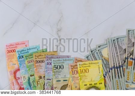 Money American Dollar Bills And Series Of Banknotes With Different Paper Bills Currency Venezuelan B