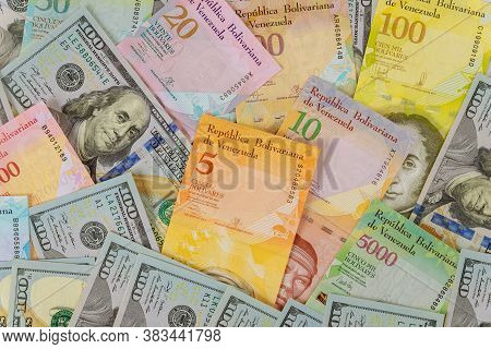 Money American Hundred Dollar Bills Venezuela Economic Of Banknotes With Different Paper Bills Curre