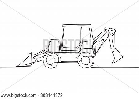 One Continuous Line Drawing Of Bulldozer For Digging Soil And Leveling The Road. Heavy Backhoe Const