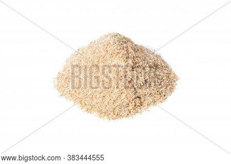 Heap Of Psyllium Husk Isolated On White Background. Psyllium Husk Also Called Isabgol Is Fiber Deriv