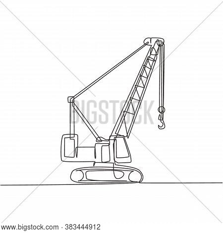One Continuous Line Drawing Of Crane Truck For Building Construction, Business Commercial Vehicles.