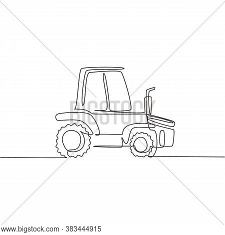 One Single Line Drawing Of Harvester Truck For Harvest Farming Vector Illustration. Business Heavy T