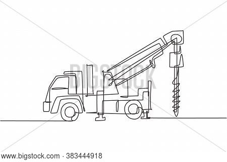 Single Continuous Line Drawing Of Vehicle Driller For Drilling Soil Earth Work. Heavy Construction M