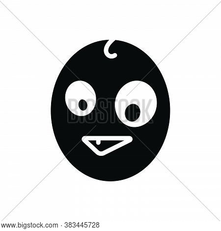 Black Solid Icon For Odd Weird Peculiar Bizarre Quaint Pied Grotesque Mottled Emoji
