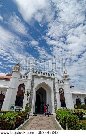 Georgetown, Penang/malaysia - Feb 14 2020: Facade Of Masjid Kapitan Keling.