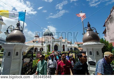 Georgetown, Penang/malaysia - Feb 14 2020: Muslim Come Out From Masjid Kapitan Keling After Friday P