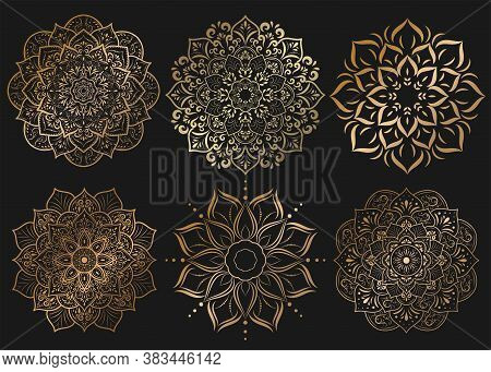 Set Of Mandala With Floral Ornament Pattern,vector Mandala Relaxation Patterns Unique Design With Na