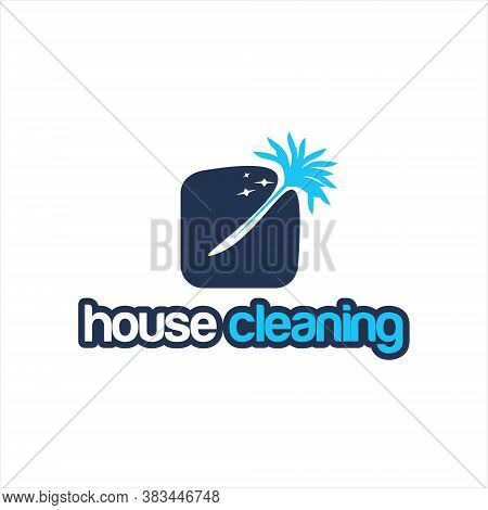 Cleaning Service Logo Simple Modern Blue Sweep Home Design Template Idea