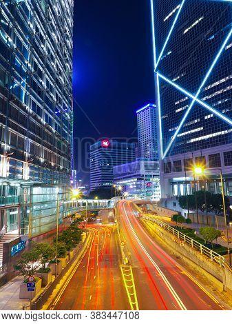 Hongkong, China - December 9 2016:  Night Traffic In Hong Kong City