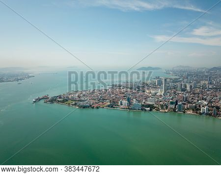 Georgetown, Penang/malaysia - Feb 28 2020: Aerial Morning View Of Georgetown.