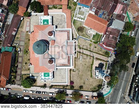 Georgetown, Penang/malaysia - Feb 28 2020: Top Down View Masjid Kapitan Keling.