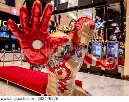 Bangkok, Thailand - May 7, 2019: Iron Man Model Show In Avengers Endgame Exhibition Booth At Iconsia