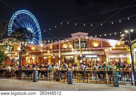 Bangkok Thailand - January 5: Outdoor Restaurant In Asiatique The Riverfront In Night Time In Bangko