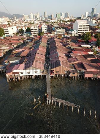 Georgetown, Penang/malaysia - Feb 29 2020: Clan Jetty Traditional Waterfront Still House.