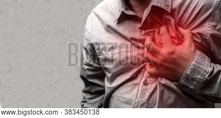 Heart Attack Concept. Man Suffering From Chest Pain, Health Care