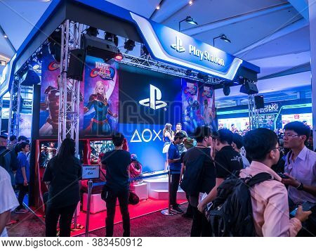 Thailand - 4 November 2017:  Boots Games By Playstation 4. Mounted Displays At Thailand Game Show Bi
