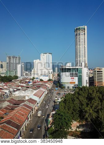 Georgetown, Penang/malaysia - Feb 29 2020: Aerial View Jalan Magazine Street With Background Komtar