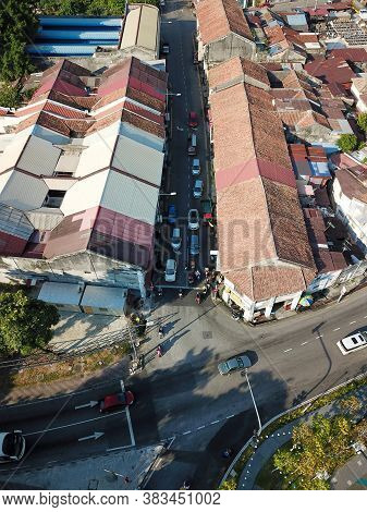 Georgetown, Penang/malaysia - Feb 29 2020: Aerial View Junction At Sia Boey Urban Archaeological Par