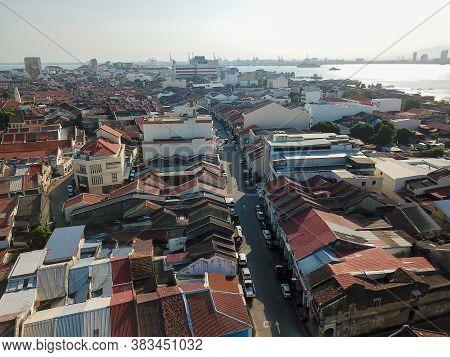 Georgetown, Penang/malaysia - Feb 29 2020: Aerial View Old Town At Penang Georgetown.