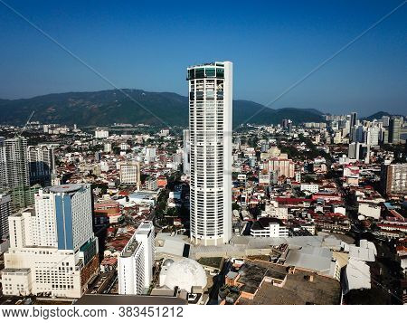 Georgetown, Penang/malaysia - Feb 29 2020: Aerial View Komtar With Georgetown City.