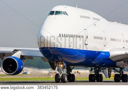Close Up Of A Taxiing Commercial Jumbo Jet